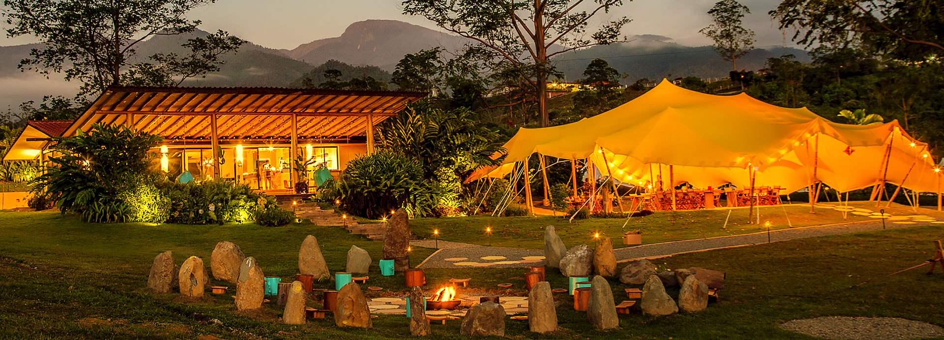 outdoor area at kinkara luxury retreat