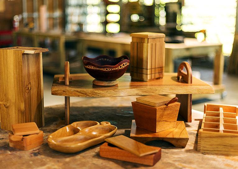 crafted hardwood floors and furnishings at kinkara santa elena
